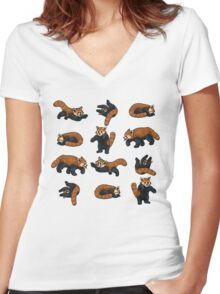 Red Pandas Women's Fitted V-Neck T-Shirt