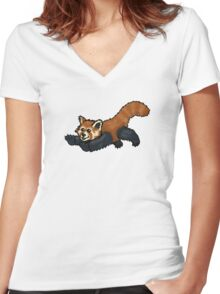 Red Panda leaping Women's Fitted V-Neck T-Shirt