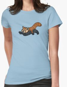 Red Panda leaping Womens Fitted T-Shirt