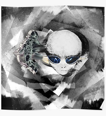 Alien and Astronaut Graphic Poster