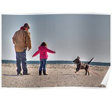Puppy Play At The Beach - Pawleys Island, SC Poster