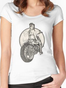 Retro Motorcycle Pinup Girl T-Shirts and Hoodies Women's Fitted Scoop T-Shirt