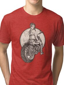 Retro Motorcycle Pinup Girl T-Shirts and Hoodies Tri-blend T-Shirt