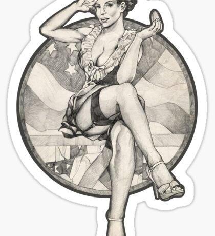 Retro 4th of July USA Pinup Girl T-Shirts and Hoodies Sticker