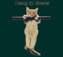 hang in there baby cute kitty cat kitten on branch  by Tia Knight