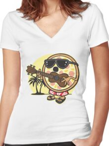 Hawaiian Pizza Women's Fitted V-Neck T-Shirt