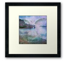Calming Buddha image with ocean waves on a beautiful peaceful beach.  Framed Print