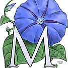 M is for Morning Glory - full image shirt by Stephanie Smith