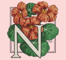 N is for Nasturtium - patch shirt Kids Tee