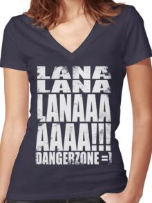 Archer - DANGER ZONE Quote -WHITE Women's Fitted V-Neck T-Shirt