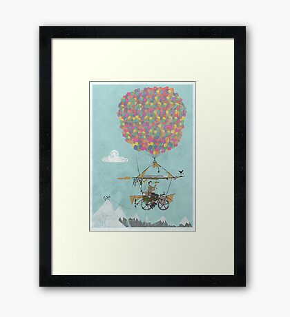 Riding A Bicycle Through The Mountains Framed Print