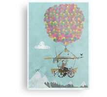 Riding A Bicycle Through The Mountains Metal Print