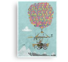 Riding A Bicycle Through The Mountains Canvas Print
