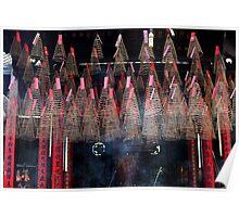 Incense coils at Goddess of the Sea pagoda in Saigon's China Town. Poster