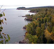 Distant View of Palisade Head at Lake Superior Photographic Print