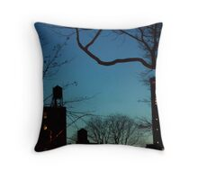 Water Towers. New York at Twilight. Throw Pillow