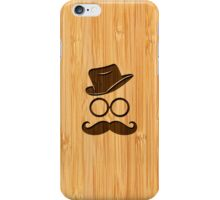 Bamboo Look & Engraved Retro Mustache Hat Glasses iPhone Case/Skin