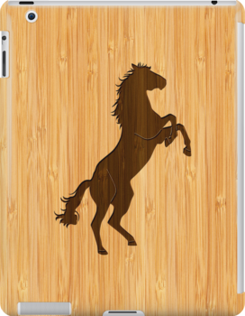 Bamboo Look & Engraved Elegant Standing Horse by scottorz