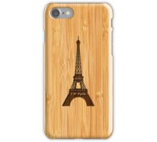 Bamboo Look & Engraved I Love Paris Eiffel Tower iPhone Case/Skin