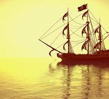 The Pirate Ship And The Sunset by Liam Liberty
