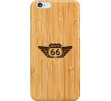 Bamboo Look & Engraved American Route 66 Sign iPhone Case/Skin