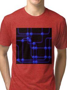 Blue Electronic Computer Circuit Board on Black Tri-blend T-Shirt