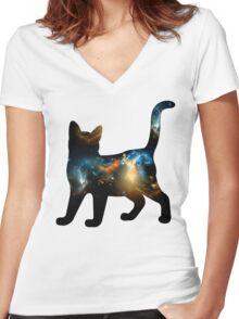 CELESTIAL CAT 2 Women's Fitted V-Neck T-Shirt
