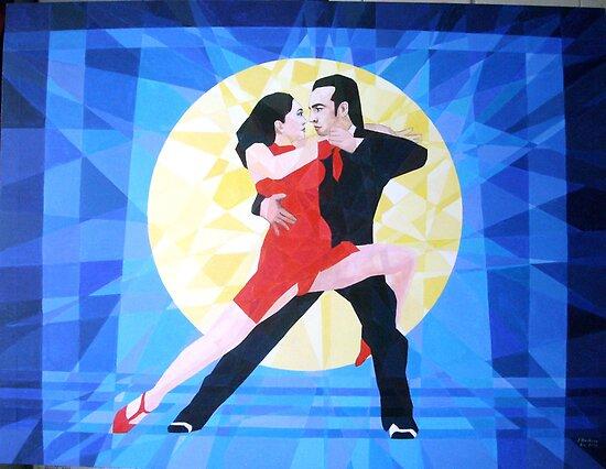 Prismatic Argentinean Tango Dancers by Joseph Barbara
