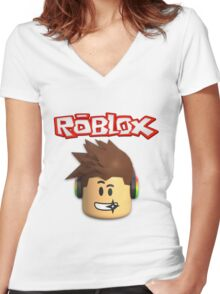 Roblox Character Head Women's Fitted V-Neck T-Shirt