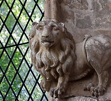 Gainsborough Old Hall-Carved lion and window by jasminewang