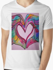 Universal Sign for Love - You Hold my Heart in Your Hand Mens V-Neck T-Shirt