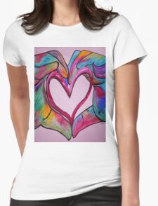 Universal Sign for Love - You Hold my Heart in Your Hand Womens Fitted T-Shirt