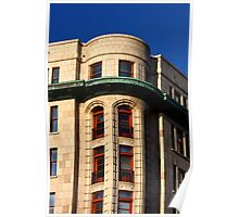 Red Trim Windows on Stone Building with Green Trim Poster