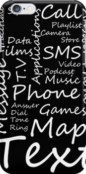 I Phone Typography Collage (black)  by Sam Mobbs