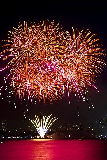 Orange Blossom Bursts   New Years Eve   Sydney Harbour by Bryan Freeman