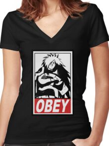 OBEY Madara Uchiha  Women's Fitted V-Neck T-Shirt