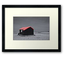 Bleak with a touch of Red Framed Print