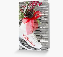 Russian New Year Ice Skates Shoes Vintage  Greeting Card