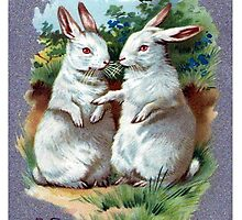 A Bright And Happy Easter Bunnies Blank Greeting Card by Oldetimemercan