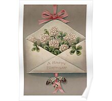 A Happy Birthday Four Leaf Clover Blank Greeting Card Poster