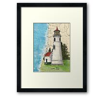 Umpqua River Lighthouse OR Nautical Map Cathy Peek Art Framed Print