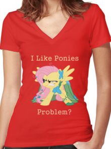 Fluttershy Problem Women's Fitted V-Neck T-Shirt