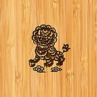 Bamboo Look & Engraved Cute Chinese Lion Statue by scottorz