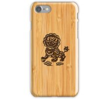 Bamboo Look & Engraved Cute Chinese Lion Statue iPhone Case/Skin