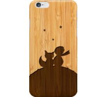 Bamboo Look & Engraved Little Prince with Fox iPhone Case/Skin
