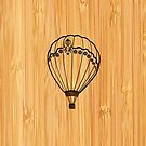 Bamboo Look & Engraved Cute Hot Air Balloon by scottorz
