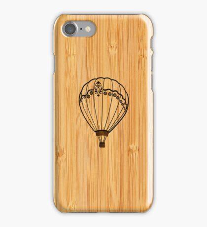 Bamboo Look & Engraved Cute Hot Air Balloon iPhone Case/Skin