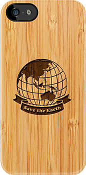 Bamboo Look & Engraved Save the Earth by scottorz