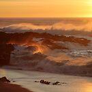 Beach Rocks At Sunset by Annie Underwood