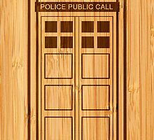 Bamboo Look & Engraved Funny Police Phone Call Box by scottorz